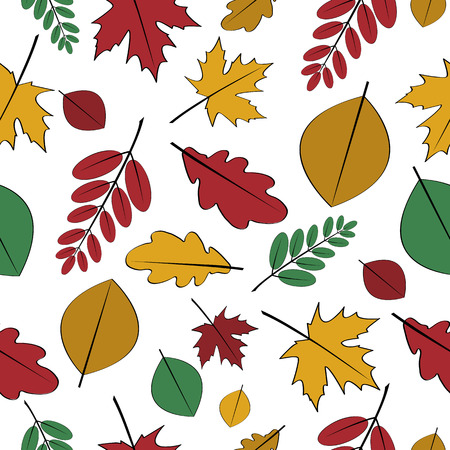 leafed: Seamless pattern with different autumn leaves