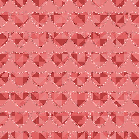 backstitch: Seamless pattern with hearts for Valentines Day Illustration