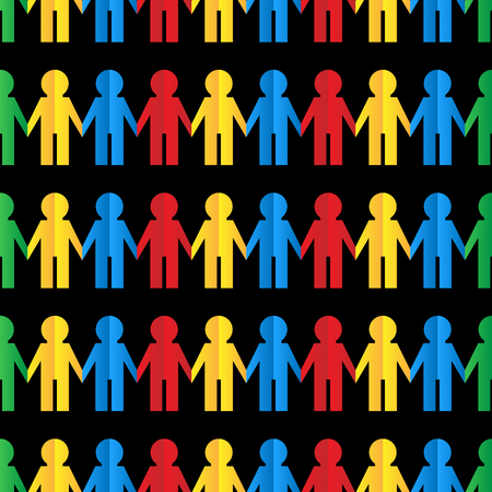 Seamless pattern with colored paper men Illustration