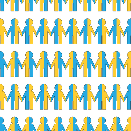 Seamless pattern with people painted in the colors of the flag Ukrainian
