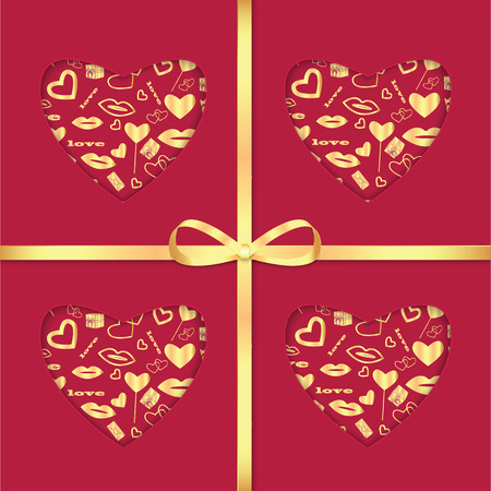Background With Gold Pattern And Ribbon For Valentine's Day Royalty Beauteous Ribbon Pattern