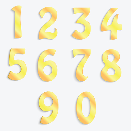 5.0: Golden numbers isolated on white background