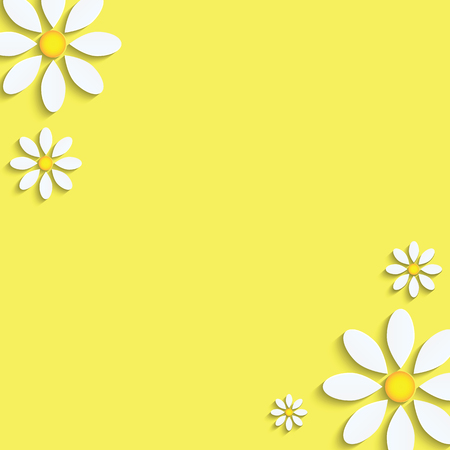 Floral  White daisies on a yellow Illustration