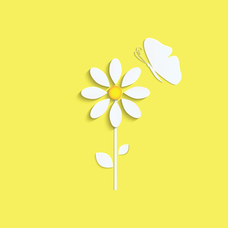 Flower and butterfly from a white paper on yellow  .natural .vector Illustration