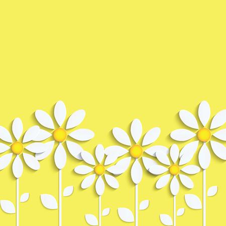 Floral. Margherite bianche su un giallo Vettoriali