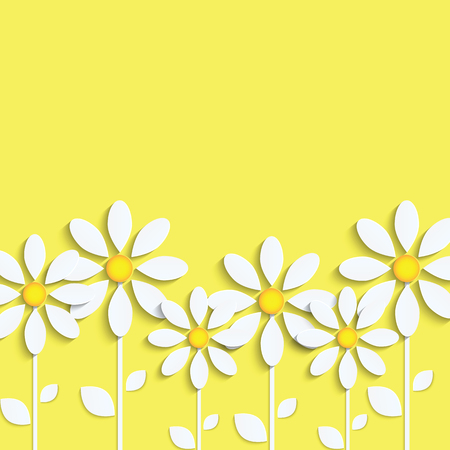 Floral .White daisies on a yellow