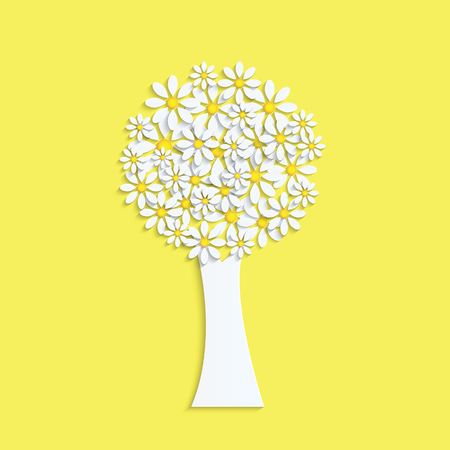 Spring design.Tree with white flowers on a yellow