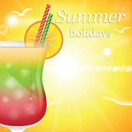 Summer holidays vector illustration with cocktail Illustration