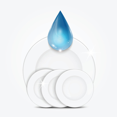 sudsy: Set of clean dishes and blue drop.dishwashing liquid on the background plates .vector Illustration