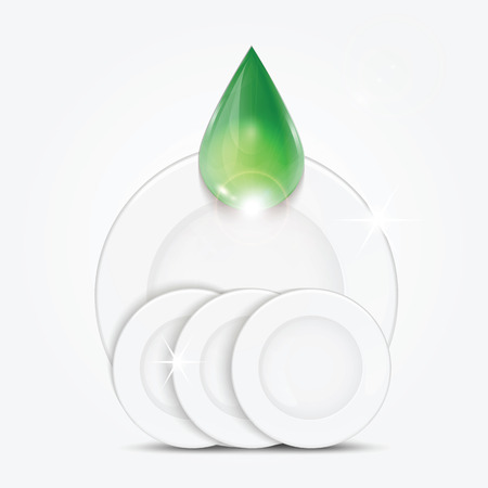 sudsy: Set of clean dishes and green drop.dishwashing liquid on the background plates .vector