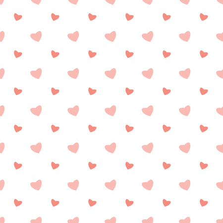 amor: Seamless pattern with pink hearts on a white background.Background for Valentines Day