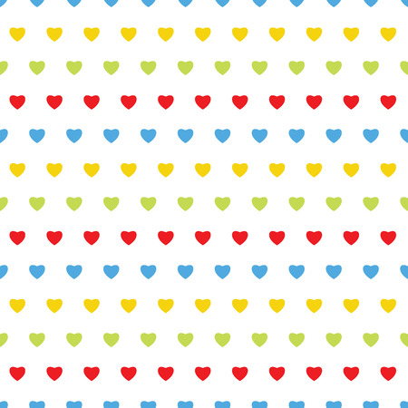 Seamless pattern with colorful hearts on a white background.Background for Valentines Day