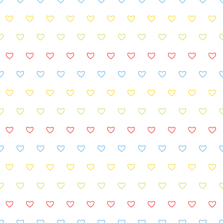 tender sentiment: Seamless pattern with colorful hearts on a white background.Background for Valentines Day