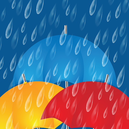 Colorful umbrellas and raindrops.The autumn rainy background Illustration