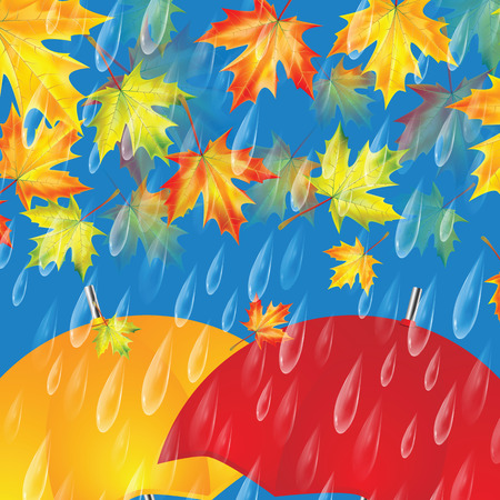 Autumn background with umbrellas, maple leaves and rain drops