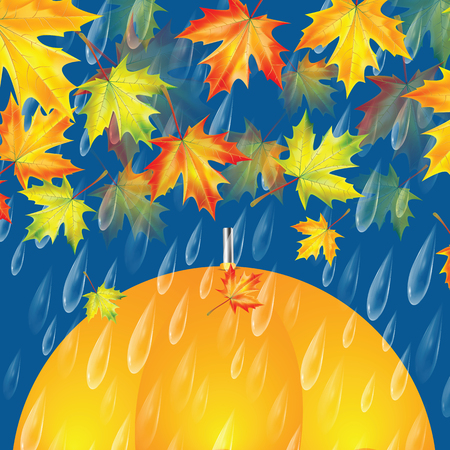 Autumn background with umbrella, maple leaves and rain drops