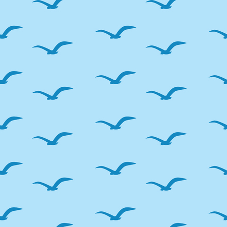 mew: Seamless pattern with white birds on a blue background. Seagulls are flying