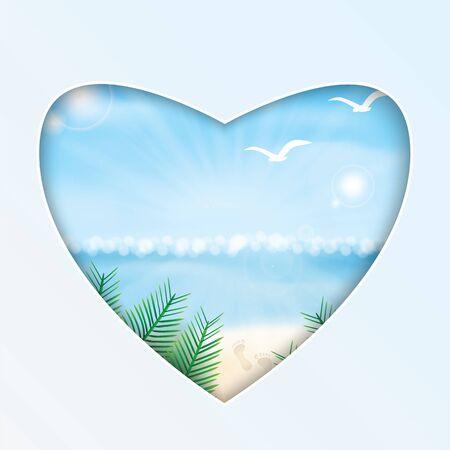 footprint sand: Seascape vector illustration. Paradise beach. The heart and the beach