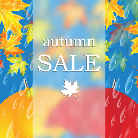 suggestion: Autumn banner with raindrops and  umbrellas and leaves of maple .Autumn sale