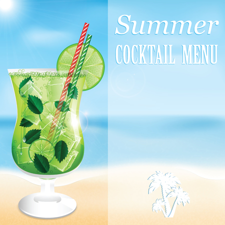 Design a menu for summer drinks.Summer cocktail on the background of the sea Illustration