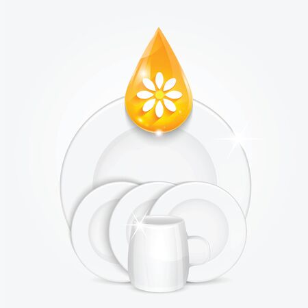 bathe mug: Set of clean dishes and yellow drop.dishwashing liquid on the background plates and cup.vector