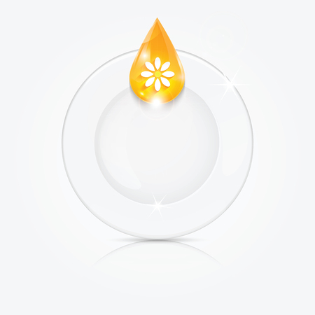 Clean dishes and yellow drop.dishwashing liquid on the background plate .vector Illustration