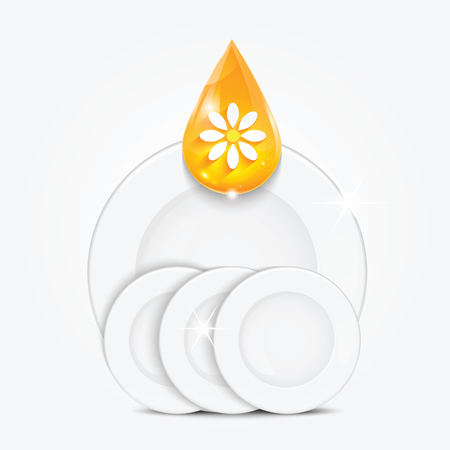floret: Set of clean dishes and yellow drop.dishwashing liquid on the background plates .vector