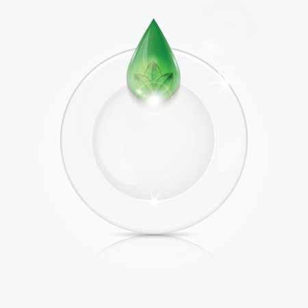 vitreous: Clean dishes and green drop.dishwashing liquid on the background plate .vector