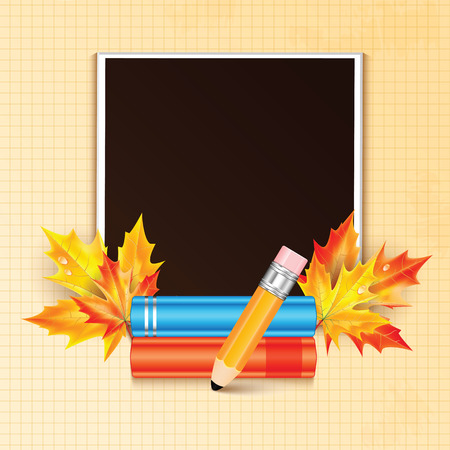 frondage: Photo frame decorated with autumn maple leaves and school subjects Illustration