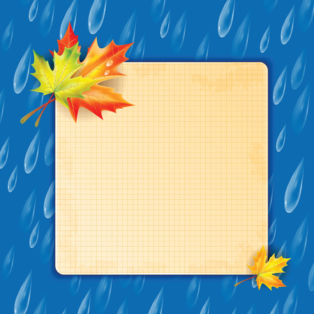 leafed: Autumn background.Transparent drops of rain on a blue background.background.Background with rain drops and maple leaves and frame for your text Illustration
