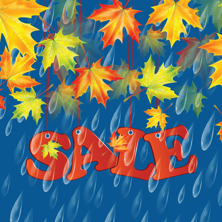 Autumn banner with raindrops and leaves of maple.Autumn sale Illustration