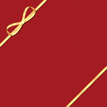 coarse: Abstract knitted pattern with gold ribbon.Celebratory background Illustration