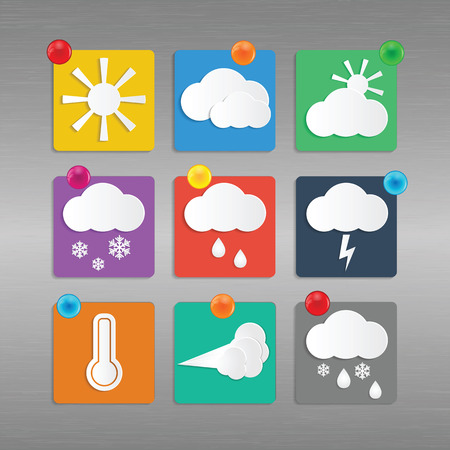 Weather and Climate.Set of meteo icons.vector Illustration