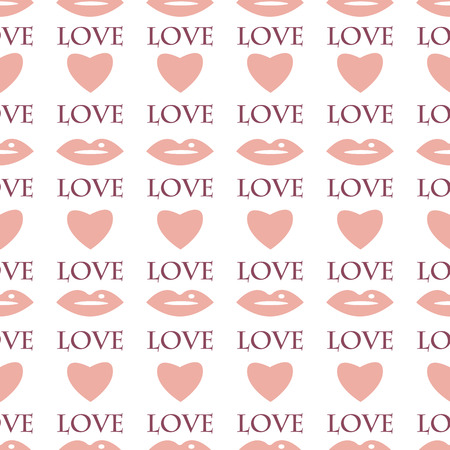 Seamless pattern with hearts and lips for Valentines Day