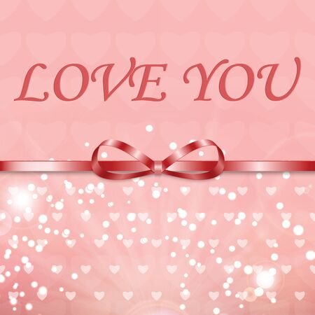 Background with hearts and ribbon for Valentines day.Vector inscription love on a pink background with bokeh and light. Happy Valentines Day Card Design.