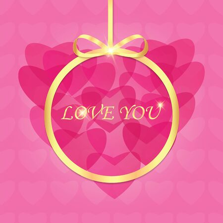 Background with hearts for Valentines day.Vector inscription love on a pink background with bokeh and light. Happy Valentines Day Card Design. Illustration