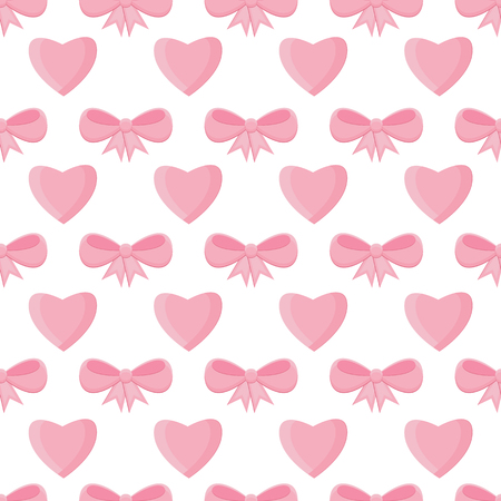 hearty: Seamless pattern with hearts and bows for Valentines Day .Simple print of pink hearts and ribbons