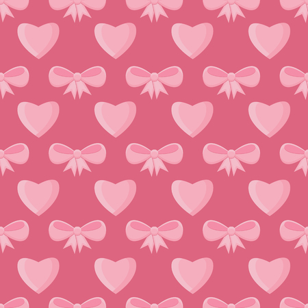 Seamless pattern with hearts and bows for Valentines Day .Simple print of pink hearts and ribbons