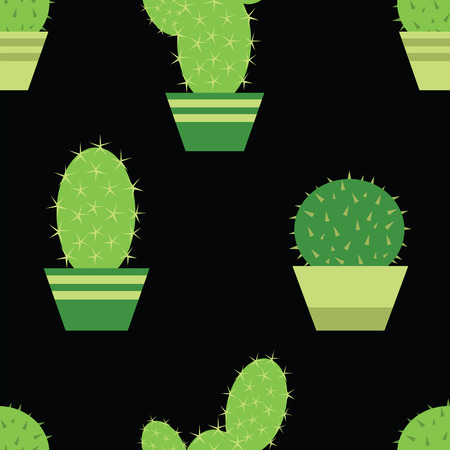 Cactus pattern.Seamless background. Cactus in a pot. Illustration