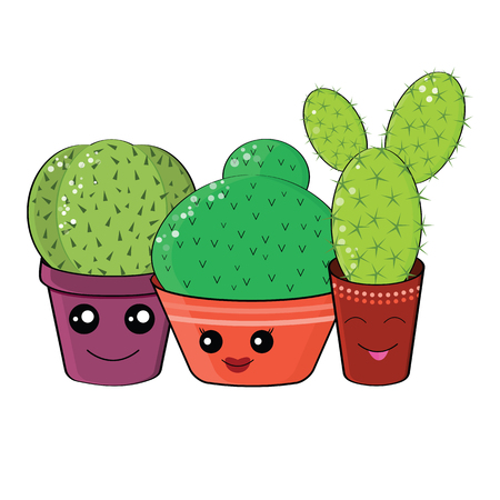 hilarious: Hilarious family of cacti on a white background.Cute kawaii smiling cactuses.Baby and kids style abstract  background.