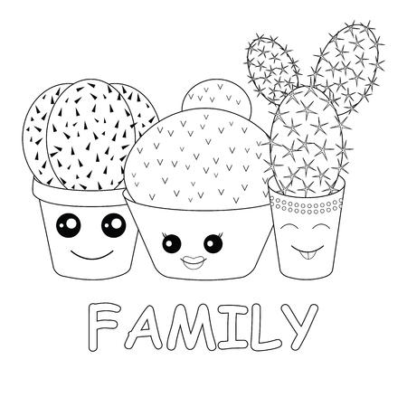 Vergnügte Familie Von Kakteen Auf Einem Gelben Hintergrund