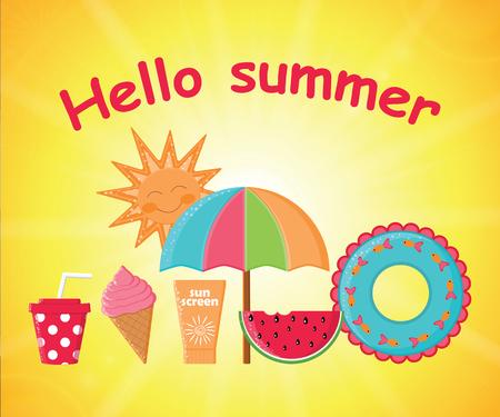 Summer day background vector.Summer poster.Summer Holidays Illustration