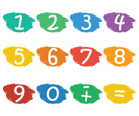 ninth: Numbers set.Colorful icons with numbers isolated on white background