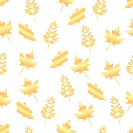 Seamless pattern of gold leaf maple, oak, rowan.Autumn background Illustration