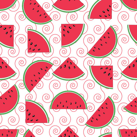 Watermelon seamless pattern.Baby and kids style abstract geometric background.Colorful vector illustration.  イラスト・ベクター素材