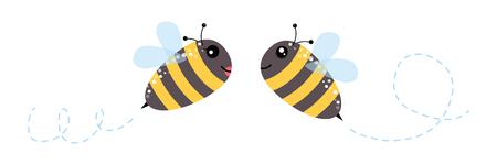 hilarious: Honey flying bee.Funny bee isolated on white background Illustration