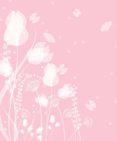 Spring background with flowers on pink background.Spring and summer floral design with flying butterflies Illustration