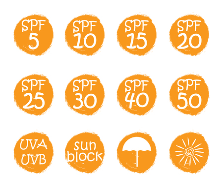 UV skin protection concept.Hand drawn stickers and badges for sunscreen cosmetics. Vector illustration set for graphic and web design. Illustration