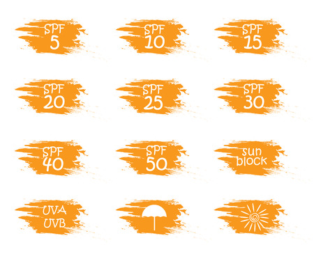 skin burns: UV skin protection concept.Hand drawn stickers and badges for sunscreen cosmetics. Vector illustration set for graphic and web design. Illustration