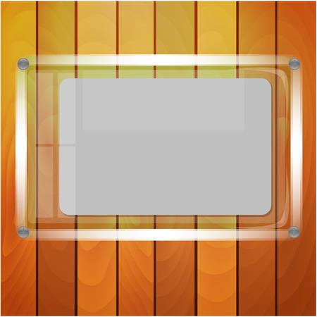 hoja de papel después de vidrio sobre un fondo una pared de madera